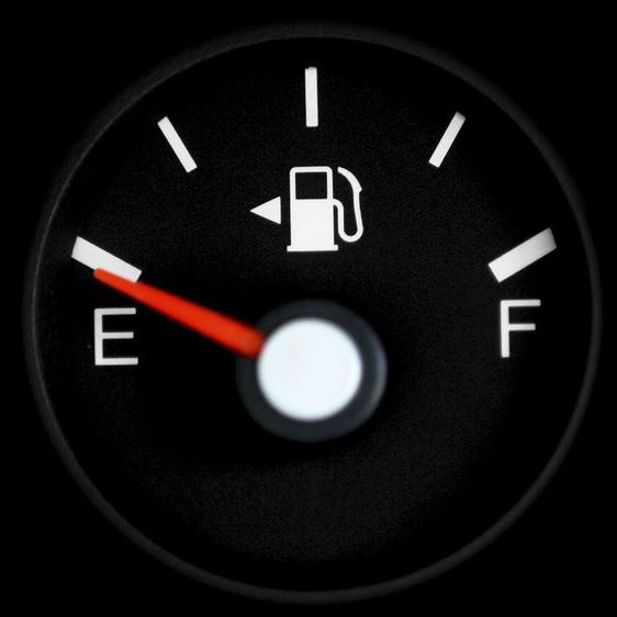 Fuel gauge on empty.