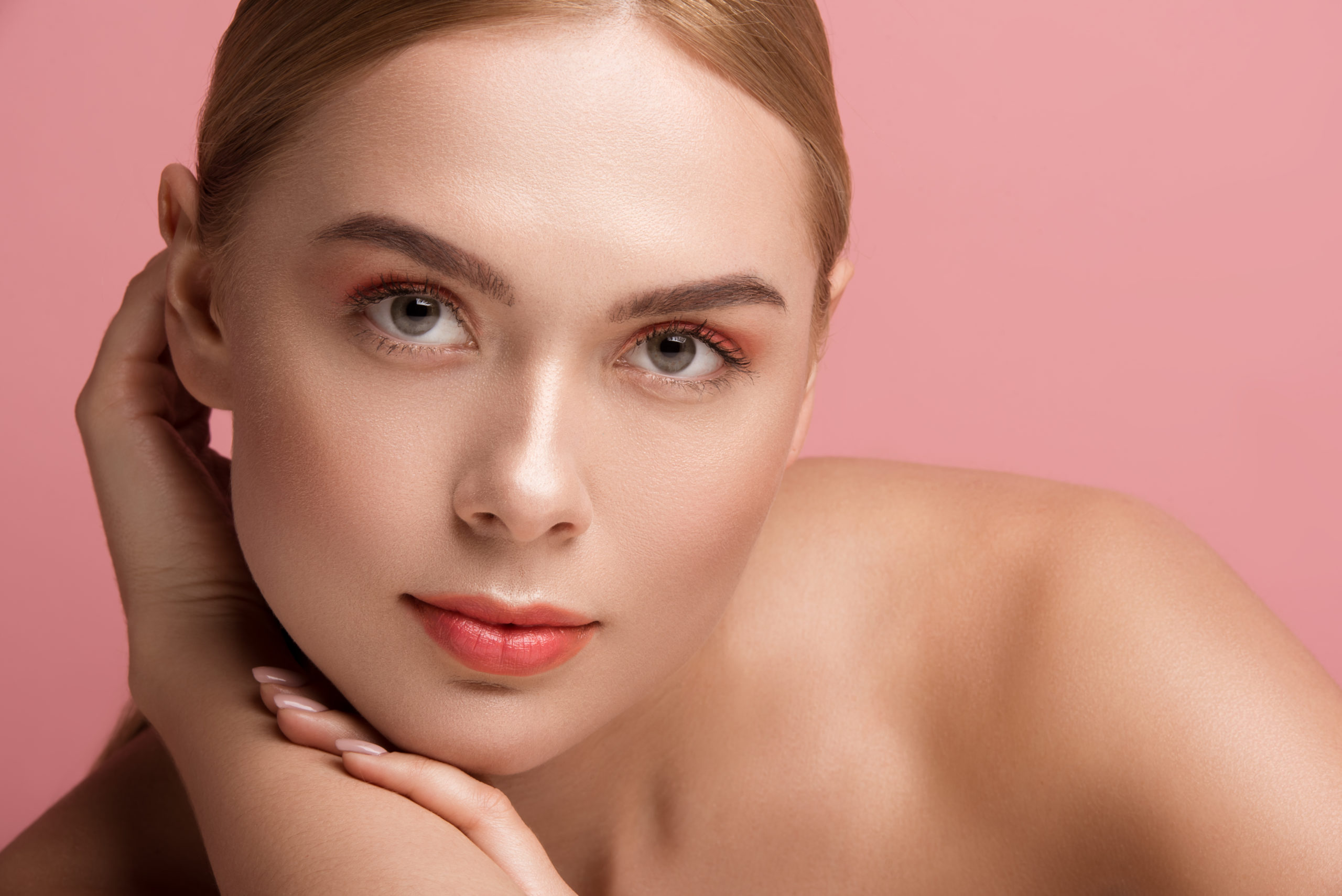 Lady with pure derma.