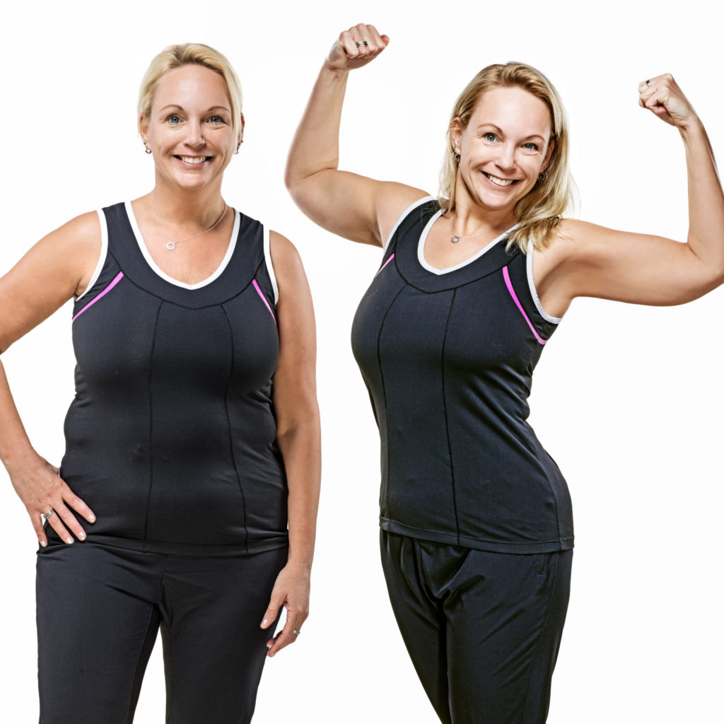 smiling woman before and after exercise